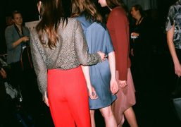 Backstage at Perret Schaad F/W 2013 at the Mercedes Benz Fashion Week…