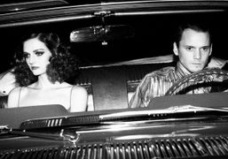 Lydia Hearst and actor Anton Yelchin during the filming of the Kenzo…