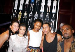Kendall Jenner, Kim Kardashian, Olivier Rousteing, Kanye West, and a friend at…