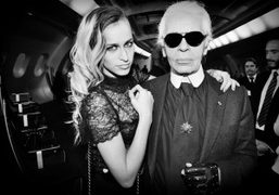 Alice Dellal and Karl Lagerfeld backstage at the Chanel S/S 2012 Couture show, Paris. Photo Stephane Feugere…