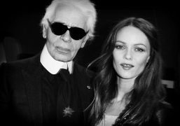 Karl Lagerfeld and Vanessa Paradis backstage at theChanelS/S 2012 Couture show,Paris.Photo Stephane…