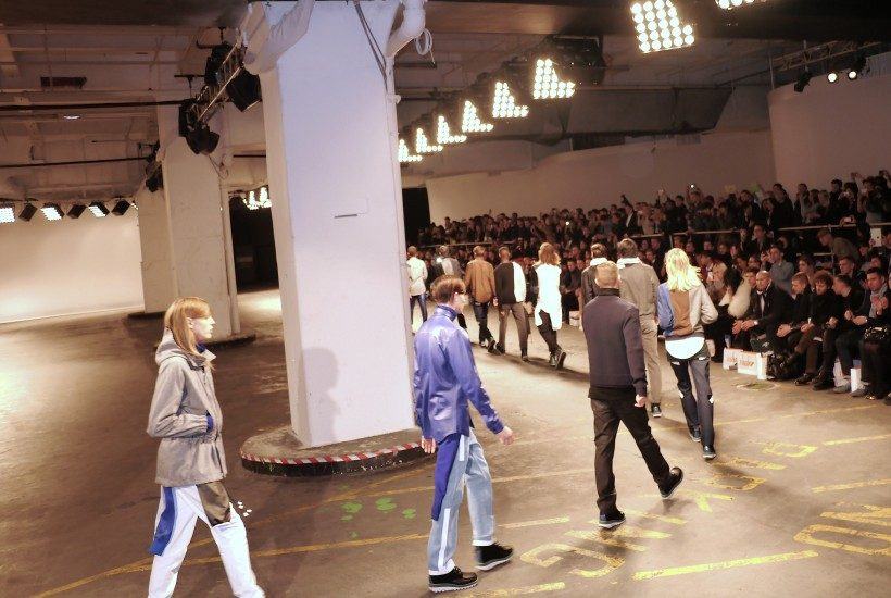 The Finale of theChristopher Shannonmen'sF/W 2013 show, London.