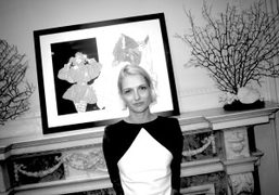 Gallerist Janina Joffe at the cocktail hosted with her galleryEast of Mayfair…