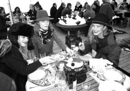 Chelsea Leyland, Jessica Joffe and Kyleigh Kuhn enjoying the Fondue at the…