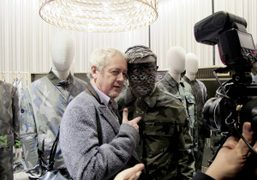 Godfrey Deeny with camouflage artist Liu Bolin at Valentino's new Camouflage collection…