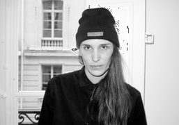 Marie Marot at her presentation wearing a Psy(chic) beanie from her F/W 2013…