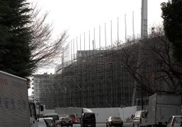The construction of new national stadium by Zaha Hadid for the Tokyo…