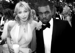 Courtney Love and Kanye West at the amfAR Gala and dinner for…