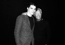Actor RJ Mitte and Giorgio Armani backstage at the Emporio Armani Men's...