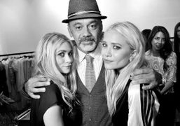 Mary Kate and Ashley Olsen with Christian Louboutin at The Row cocktail…