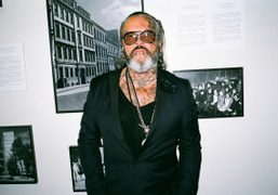 Berlin legend Sven Marquardt (bouncer of Berghain) at the Madchenschule, Berlin. Photo…