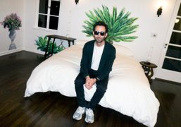"""A dinner to celebrate Alex Israel's new mural installation """"Movie Star Maps""""..."""
