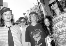Sandy Kim and DIIV band members on the Sunset Strip, Los Angeles
