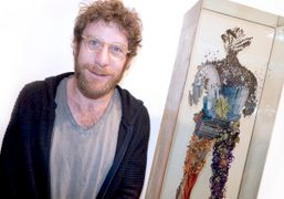 Dustin Yellin at his exhibition opening at Richard Heller gallery, Santa Monica….