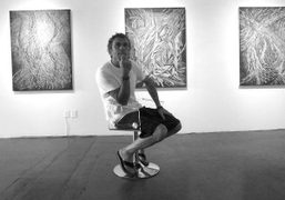"""Hermann Lederle at his third solo exhibition """"Footprints on Snow"""" at Frank…"""