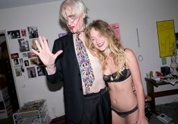 Kim Fowley and Chelsea Schuchman at Kim's apartment in Hollywood