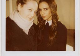 Caroline Gaimari and Victoria Beckham after the Victoria F/W 2012 Presentation, New…