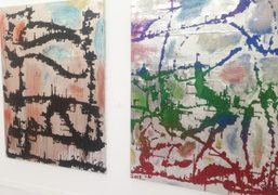 Paintings by Chris Martin in Anton Kern Gallery booth at Frieze New York…