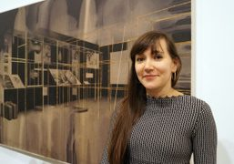 Tatiana Trouve beside one of her pieces at the opening of her…