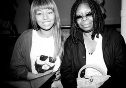 Jerzey Martin and Whoopi Goldberg at Jeremy Scott S/S 2015 show, New York. Photo Skylar Williams
