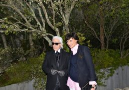 Karl Lagerfeld and Ines de la Fressange after the Chanel couture S/S 2013 show at…