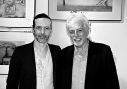 Cristobal Jodorowsky and his father Alejandro Jodorowsky at the Gallery Lipao-Huang where…