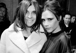 Carine Roitfeld and Victoria Beckham after Victoria Beckham F/W 2013 show, New…