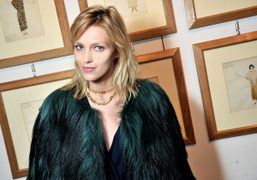 Anja Rubik at the Vionnet F/W 2013 collection presentation, Milan. Photo Stéphane Feugère