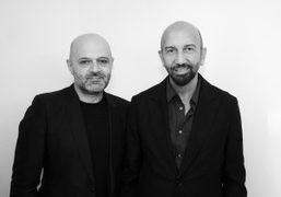Hussein ChalayanwithVSP'screative directorKadri Soygül at the VSP Chalayan Spring/Summer 2015 Capsule collection…