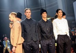 A group shot from the CarvenMen's F/W 2014 show at the Ecole...
