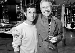 André Saraiva and Jean-Paul Goude after André's performance at Galeries Lafayette where…