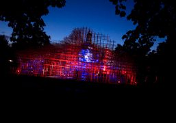 Serpentine Gallery Pavilion by Japanese architect Sou Fujimoto lit up at the Serpentine…
