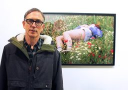 Richard Kern with one of his photos at Bullet Space Gallery, New…