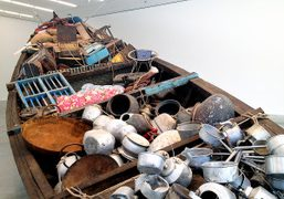 A view ofSubodh Gupta's What Does the Vessel Contain, That the River…