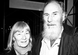 Sue Henger and George Herms outside The Susan Inglett Gallery, New York….
