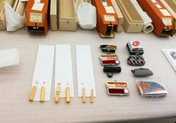Japanese scrolls and stamps at Gabriel Orozco's solo show at Marian Goodman…