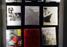 Olivier Zahm's book OZ Diary on the display window of the Walther…