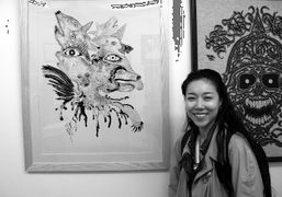 The film director Momoko Ando with her work at the opening of…