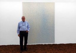 Famous gallerist Irving Blum visiting Lucien Smith's Rain Painting show at the OhWow Gallery, Los Angeles….