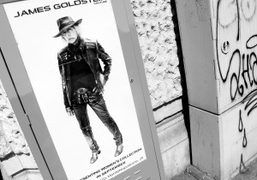 Guerrilla communication in the street by James Goldstein announcing his new womenswear…