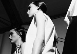 Lining up the show backstage at JW Anderson S/S 2013, London. Photo Rory…