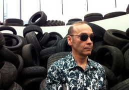 Jose Freire of Team Gallery inside Mike Nelson's Art Unlimited piece at…