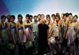 Giorgio Armani at the end of his Emporio Armani S/S 2014 show,…