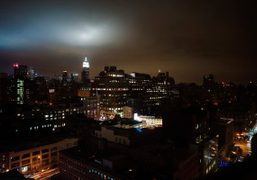 A view of New York at night from my room at The…