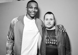 Basketball player Russell Westbrook and Louis Vuitton menswear style director Kim Jones...