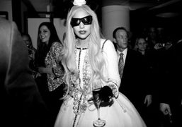 Lady Gagawearing a Chanel dress at the opening of Gaga's Workshop at…