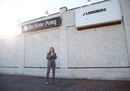 Lizzie Jagger outside the famous Stone Pony Club, Asbury Park, NJ in…