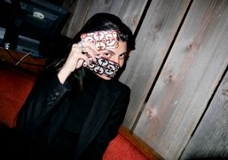 Giovanna Battaglia with the iPhone cases she made with Case Scenarioat Blue…