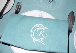 The beautiful blue dining set at Caviar Kaspia, one of the most…