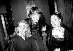 Mick Jagger with Gael and Anna Boglione at Cafe Royal for a…